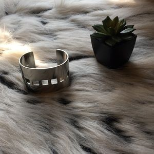Thick Silver Band with Square Pattern